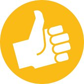 Thumb up in orange label