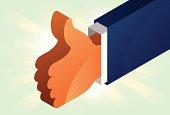 Thumb up isometric