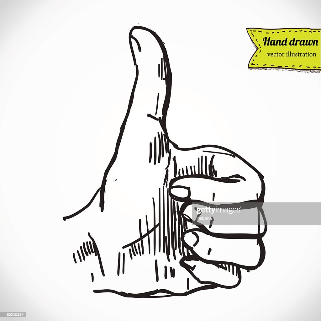 "Thumb up ""like"" hand symbol. Hand drawing sketch vector illustration"