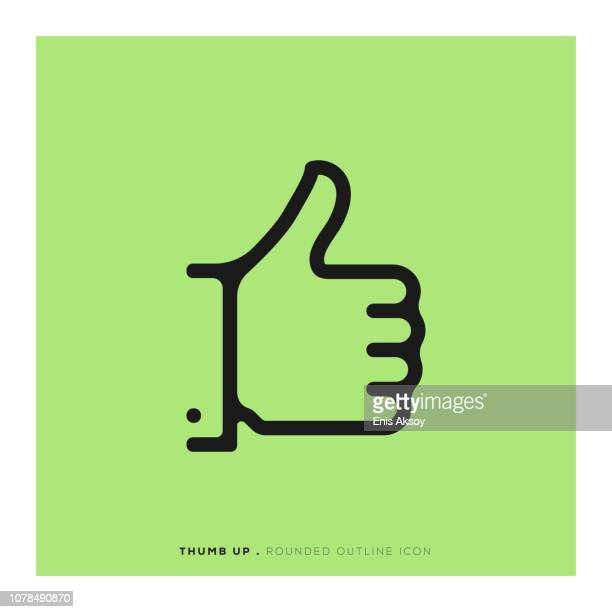 thumb up rounded line icon - thumb stock illustrations