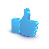 Thumb up symbol isolated on white background, vector illustration.
