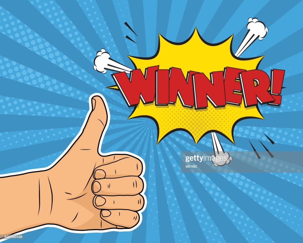 Thumb up winner comic pop art background vector illustration.