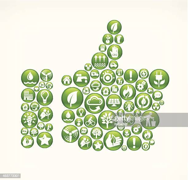 Thumb Up with Green Energy Buttons