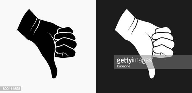 thumbs down icon on black and white vector backgrounds - thumbs down stock illustrations
