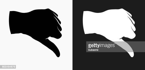 Thumbs Down Icon on Black and White Vector Backgrounds