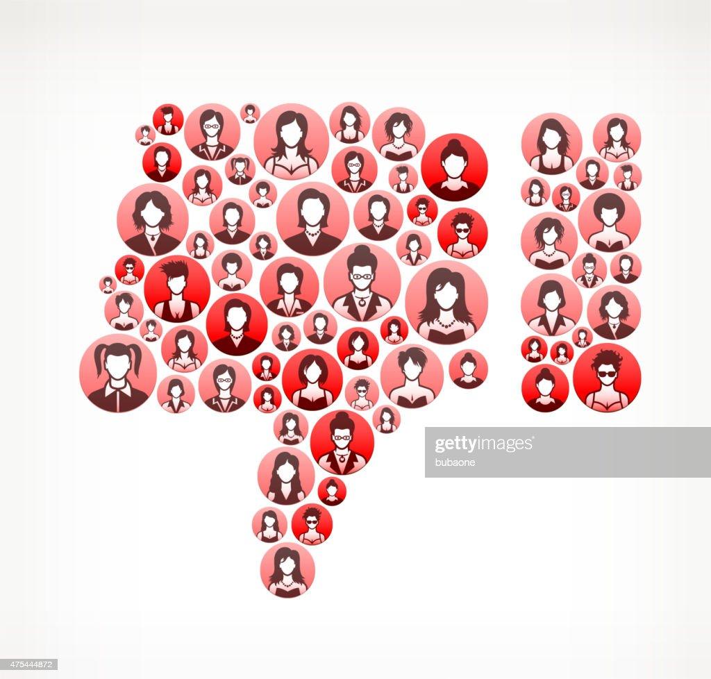 Thumbs Down Women Faces Girl Power Pattern. : stock illustration