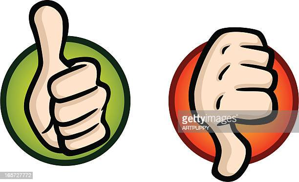 thumbs up and down icons - thumbs down stock illustrations