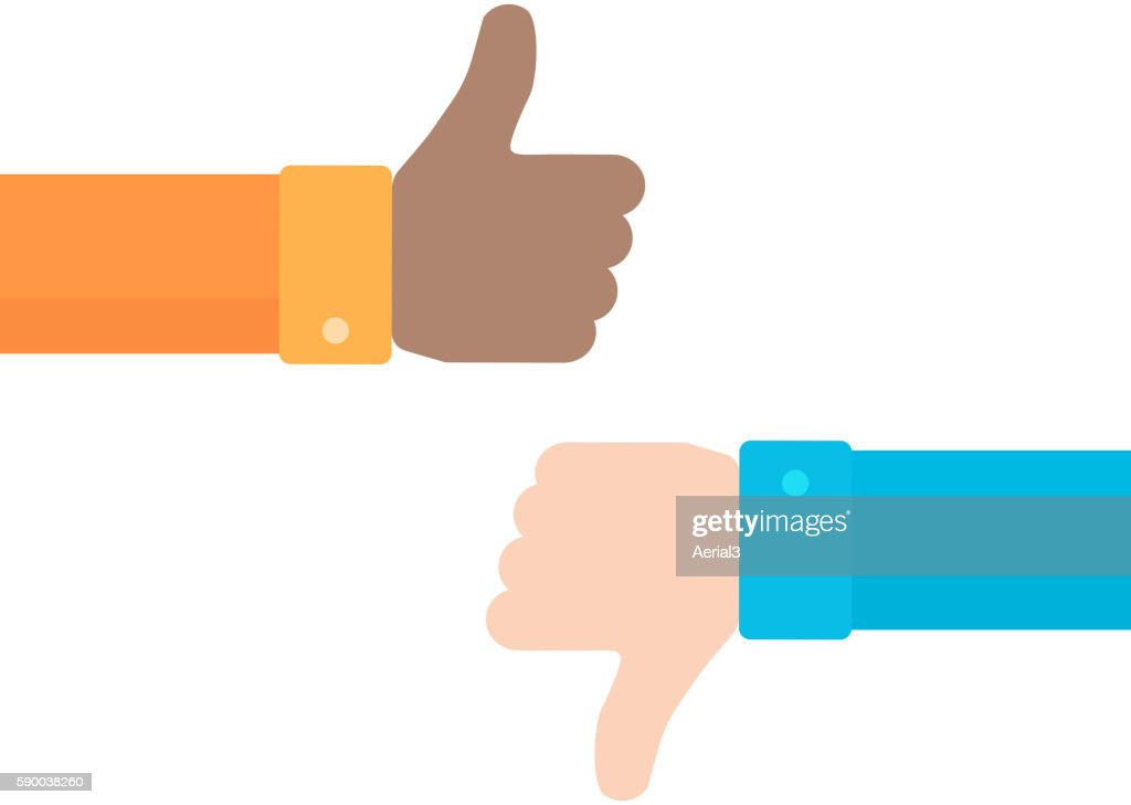Thumbs up and down vector icon in flat style