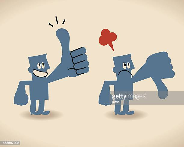 thumbs up and down - receiving stock illustrations