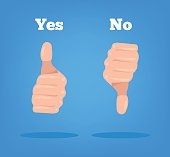 Thumbs up and down. Yes No sign hand