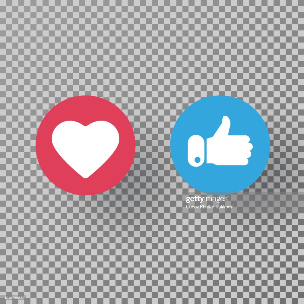 Thumbs up and heart icon on transparent background. Social media elements. Social network symbol. Counter notification icons. Emoji reactions. Vector illustration