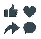 Thumbs up and heart icon with repost and comment icons on a white background. facebook, face icon, social media icon, empathetic emoji reactions
