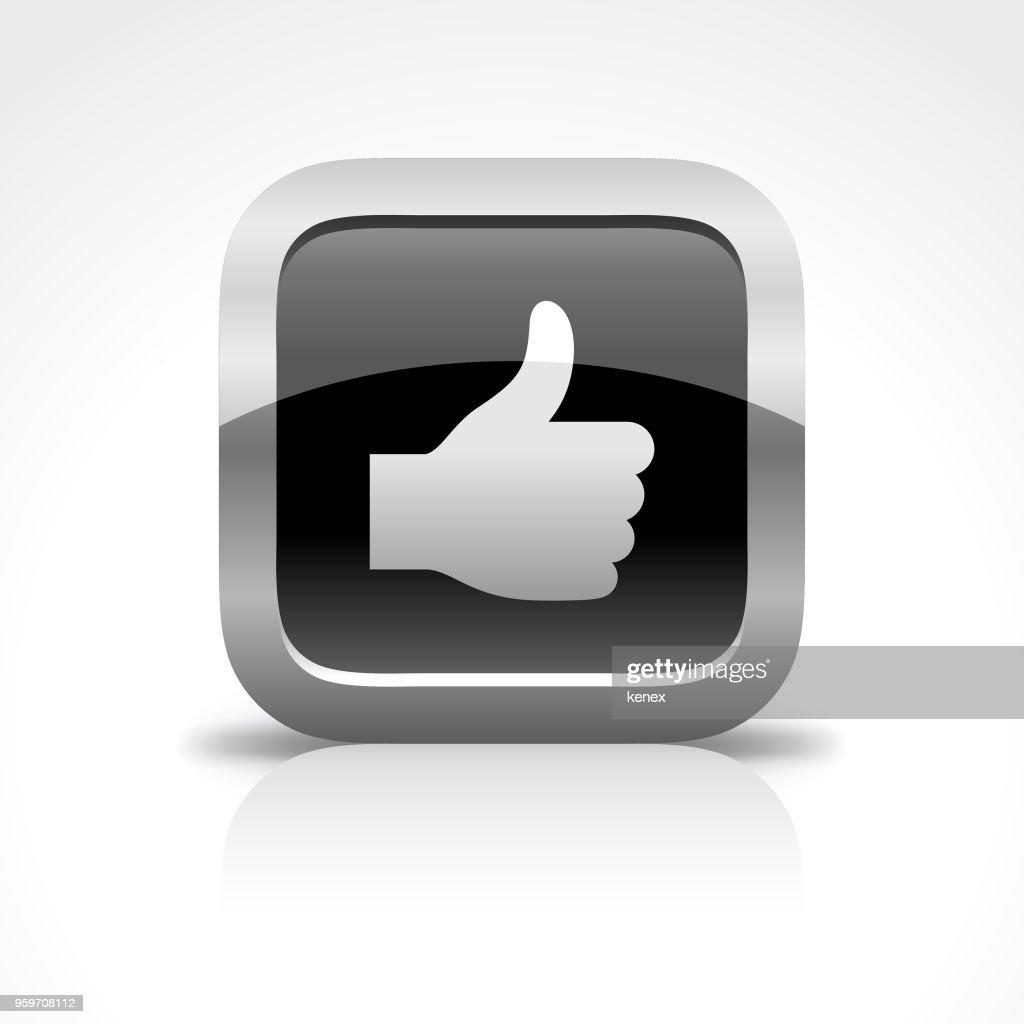 Thumbs Up und Social Media glänzend Schaltflächensymbol : Stock-Illustration