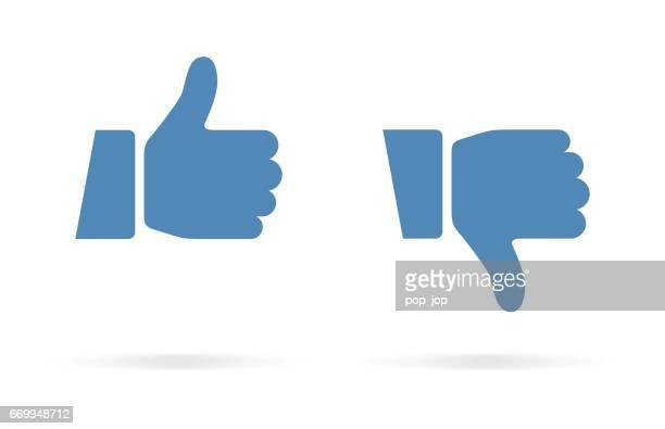 thumbs up and thumbs down icon - like button stock illustrations