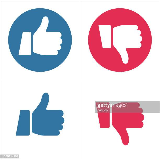thumbs up and thumbs down icons - like and dislike - like button stock illustrations