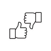 Thumbs up and thumbs down. Vector line icons