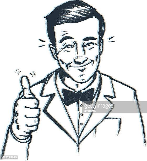 thumbs up bow tie guy - ecstatic stock illustrations
