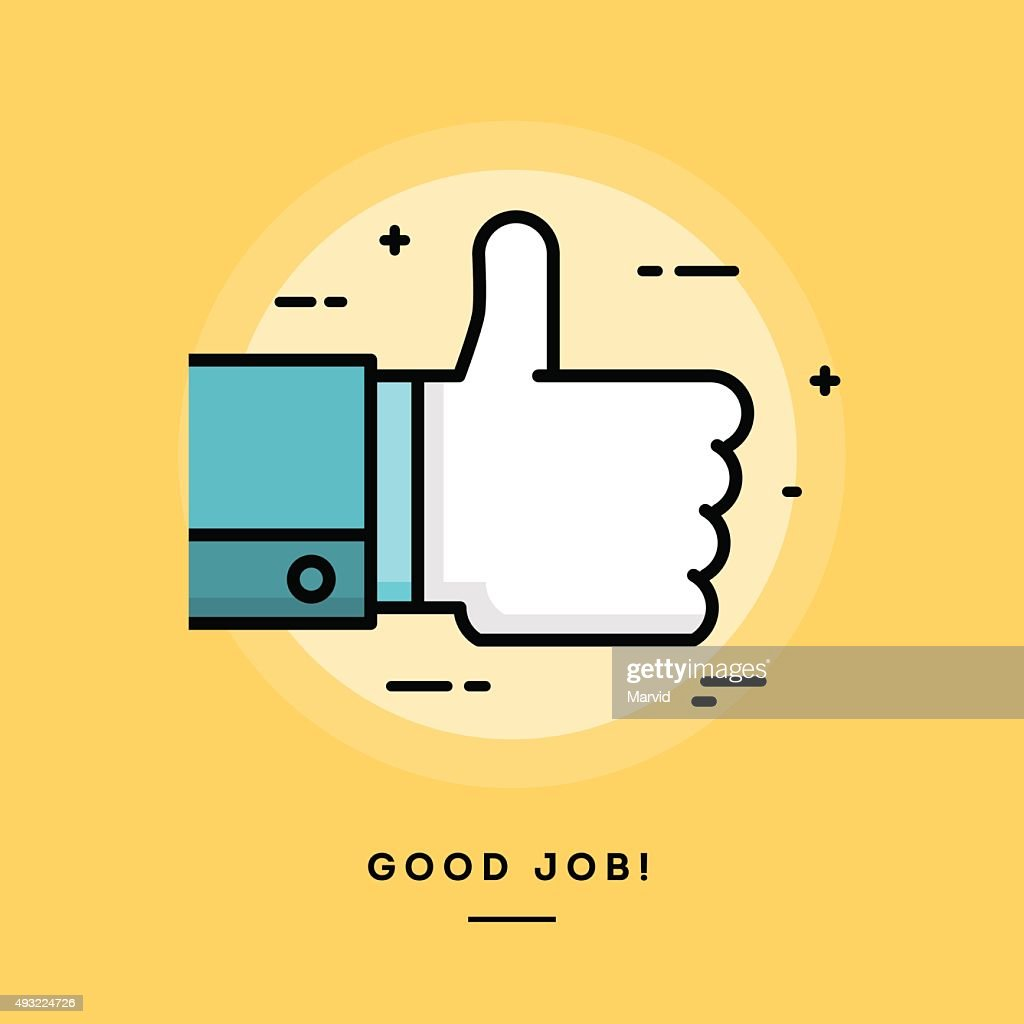 Thumbs up, flat design thin line banner