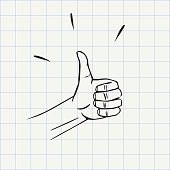Thumbs up gesture doodle icon