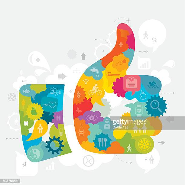 thumbs up healthy lifestyle - quitting smoking stock illustrations, clip art, cartoons, & icons