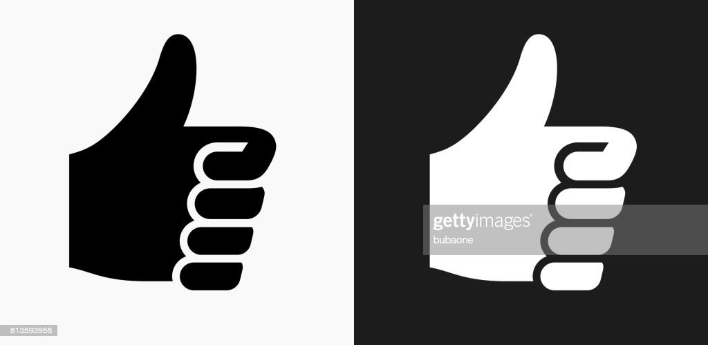 Thumbs Up Icon on Black and White Vector Backgrounds