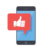 Thumbs up icon with smartphone. Like message on screen, like button. Social network, social media usage on mobile device. Concept for websites, web banner. Flat design vector illustration.