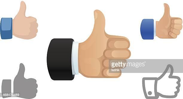 ilustrações, clipart, desenhos animados e ícones de polegares para cima ícones - sinal afirmativo