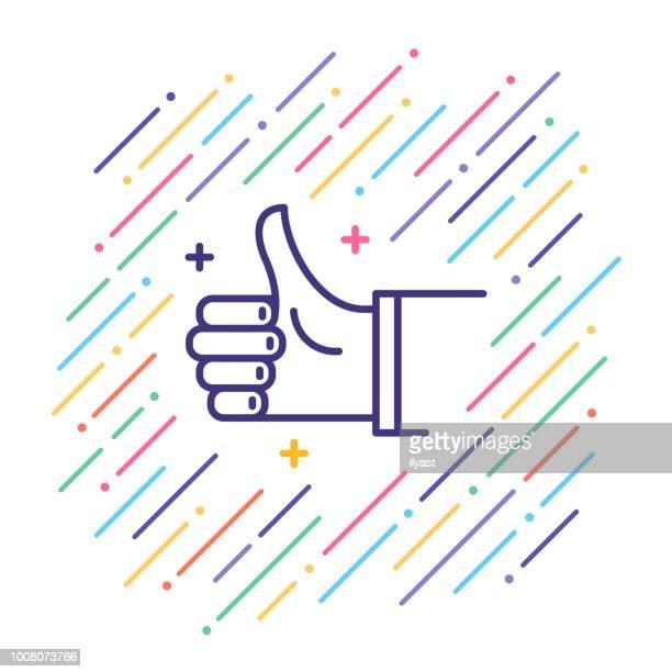 illustrations, cliparts, dessins animés et icônes de thumbs up ligne icône - homme soumis
