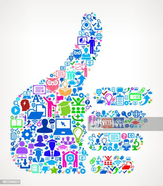Thumbs Up Modern Education and College Degree Icon Pattern
