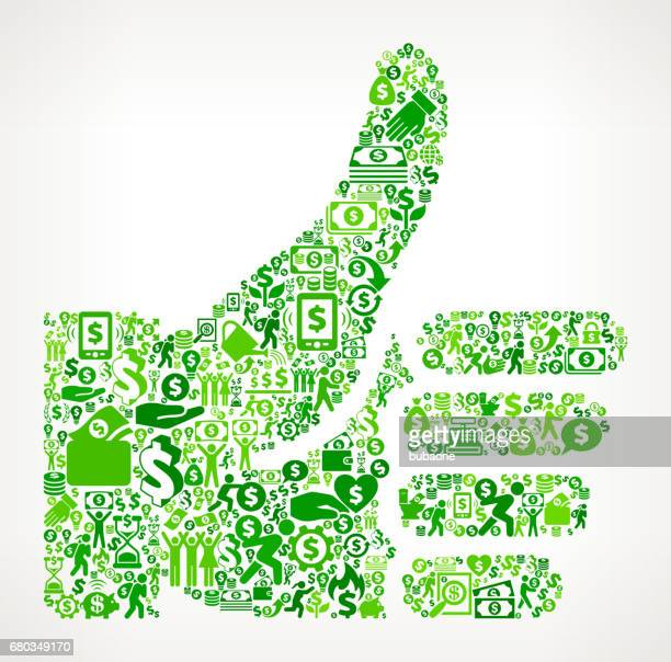 thumbs up  money and finance green vector icon background - flipping a coin stock illustrations, clip art, cartoons, & icons