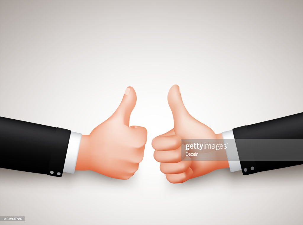 Thumbs Up Sign of Two Professional Businessman Hands