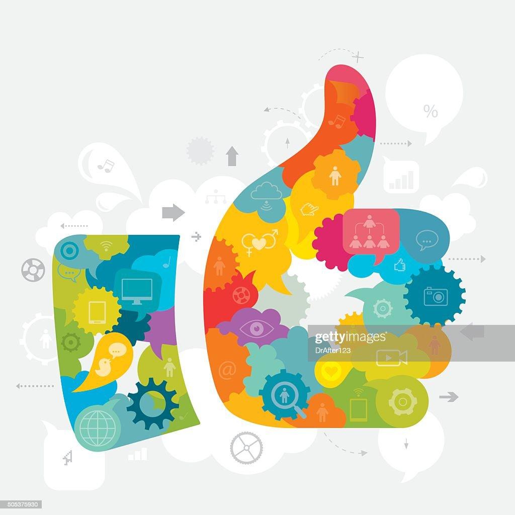 Thumbs Up Social Media Concept
