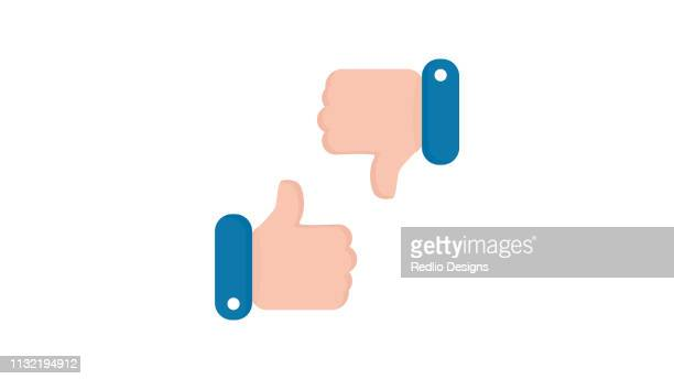 thumbs up thumbs down icon - moving down stock illustrations