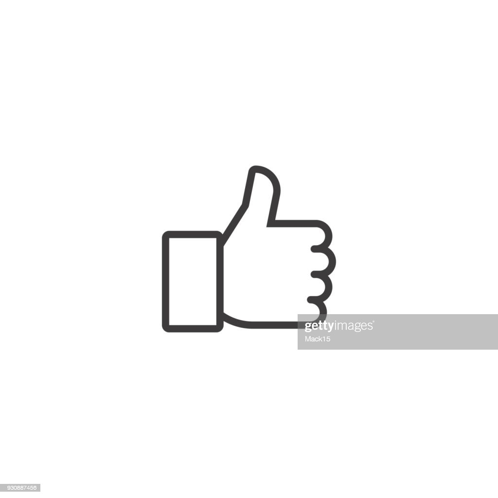 Thumbs up. Vector line icon