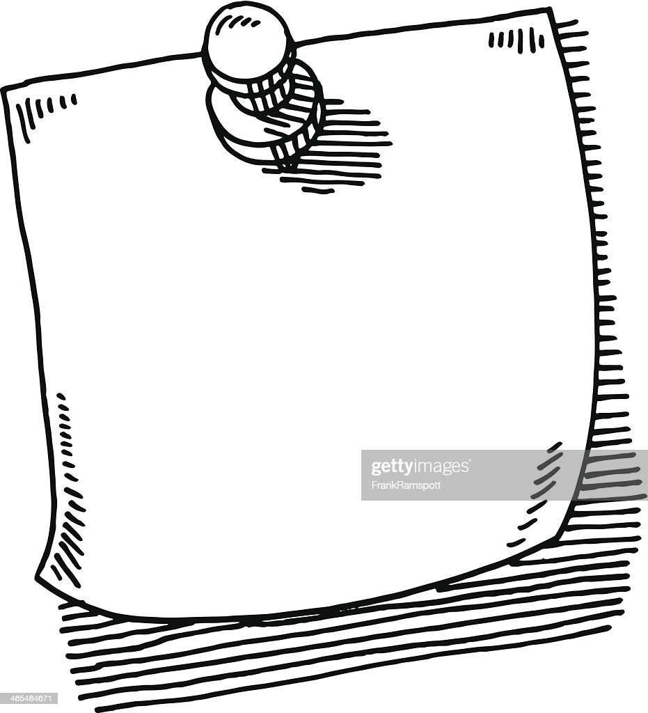 Thumbtack Note Paper Drawing : stock illustration