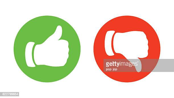 thump up and thump down hands - vector illustration - negative emotion stock illustrations