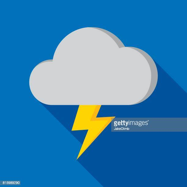 thundercloud icon flat - overcast stock illustrations, clip art, cartoons, & icons