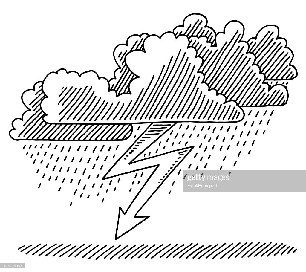 Uncategorized Lightning Drawing thunderstorm cloud lightning weather drawing vector art getty images art