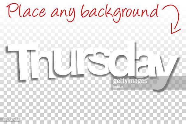 thursday sign for design - paper font - blank background - thursday stock illustrations