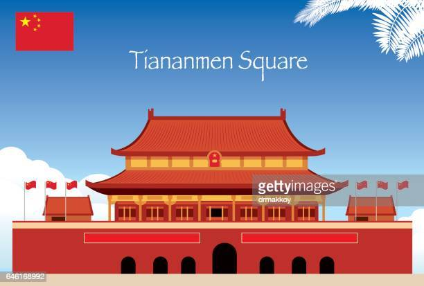 stockillustraties, clipart, cartoons en iconen met tiananmen-plein - mao tsé toung