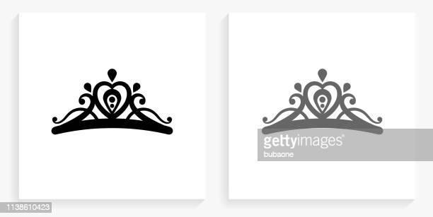 tiara black and white square icon - tiara stock illustrations, clip art, cartoons, & icons