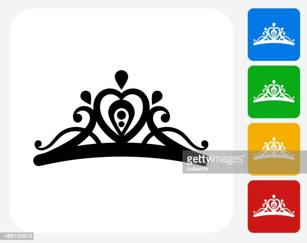 illustrazioni stock, clip art, cartoni animati e icone di tendenza di tiara icona piatto di design grafico - diadema copricapo