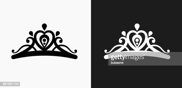tiara icon on black and white vector backgrounds - tiara stock illustrations