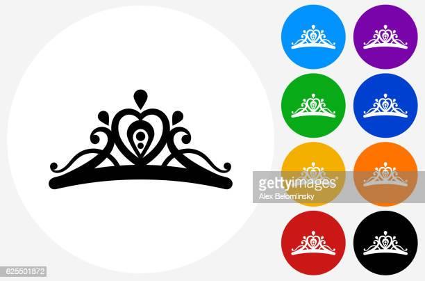 illustrazioni stock, clip art, cartoni animati e icone di tendenza di icona tiara sui pulsanti cerchio a colori piatti - diadema copricapo