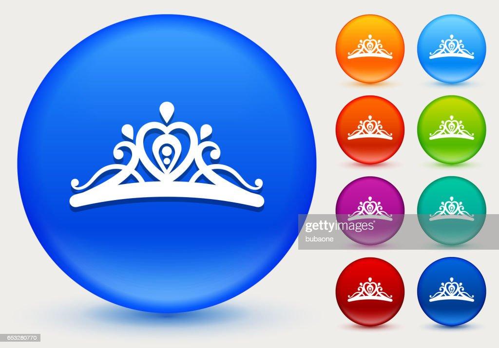 Tiara Icon on Shiny Color Circle Buttons : Vector Art