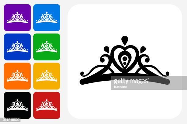 tiara icon square button set - tiara stock illustrations, clip art, cartoons, & icons
