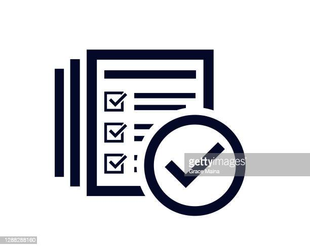 tick check mark icon with document list with tick check marks with - verification stock illustrations