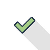 Tick, check mark thin line flat color icon. Linear vector symbol. Colorful long shadow design.