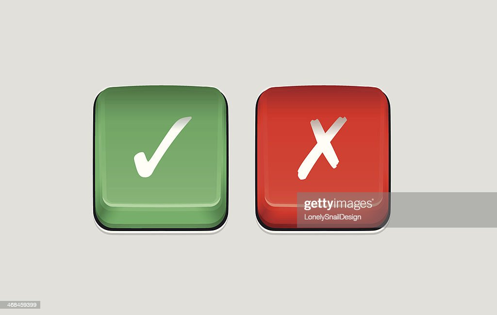 Tick Cross Buttons Vector Art Getty Images