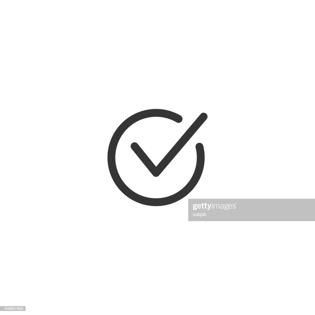 Tick icon vector symbol doodle style checkmark isolated on white background, checked icon or correct choice sign in black square, handwritten or drawn check mark or checkbox pictogram. Vector graphic